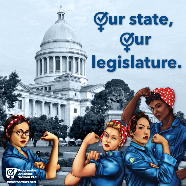 Four races of women dressed as Rosie the Riveter in front of the Arkansas State Capitol building.